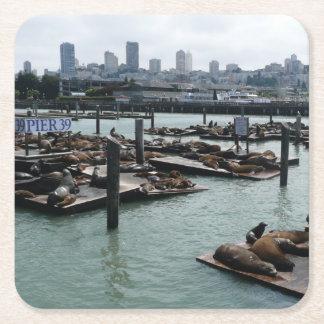 San Francisco und Seelöwe-Stadt-Skyline des Rechteckiger Pappuntersetzer