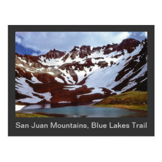 San- Juanberge, blaue See-Spur Postkarte