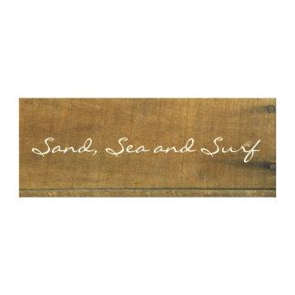 Sand-und SeeVintages inspiriertes altes hölzernes Leinwanddruck