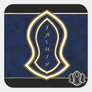 Sandale des Prophet-(blauen) Marmors u. des Goldes Quadratischer Aufkleber