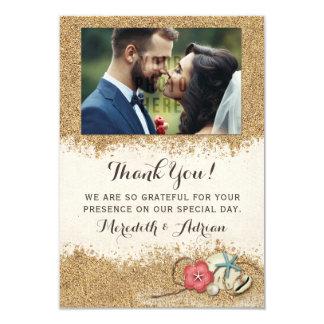 Sandy-Strand-Hibiskus-Hochzeit danken Ihnen Foto 8,9 X 12,7 Cm Einladungskarte