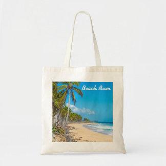 Sandy-Strand, Palmen, Ozeanwellen u. blaue Himmel Tragetasche