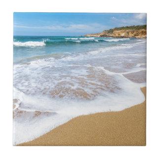 Sandy-Strandmeer bewegt und Berg an der Küste Fliese