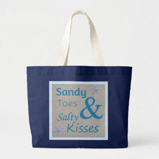 Sandy-Zehen und salziges Kuss-Strand-Leben-Zitat Jumbo Stoffbeutel