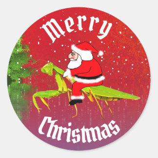 Sankt auf betender Mantis-Weihnachtsaufklebern Runder Aufkleber