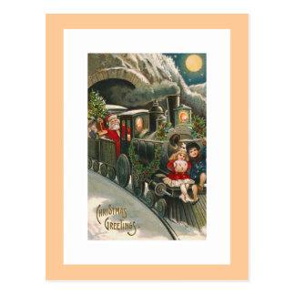 """""""Sankt auf einem Zug"""" Vintage Weihnachtspostkarte Postkarte"""