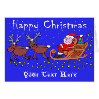 Sankt auf seiner Pferdeschlitten-Weihnachtskarte Karte