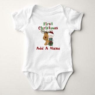 Sankt-Baby und Ren-erster Weihnachtsbodysuit Baby Strampler
