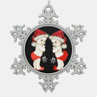 Sankt-Baby-Zwillings-Baby-Weihnachten Schneeflocken Zinn-Ornament