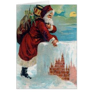 Sankt, die das Kamin-Vintage Weihnachten Karte