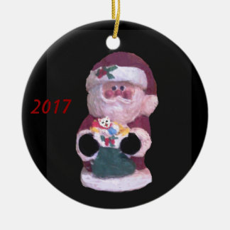 SANKT MIT KÄTZCHEN-WEIHNACHTSverzierung 2017 Keramik Ornament