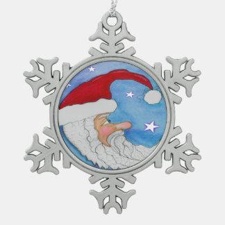 Sankt-Mond-Schneeflocke-Verzierung Schneeflocken Zinn-Ornament