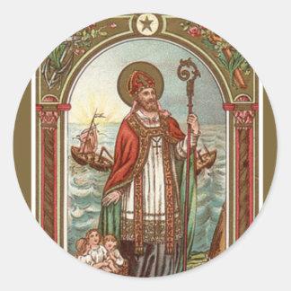 Sankt Nikolaus von Myra Bischof Runder Aufkleber