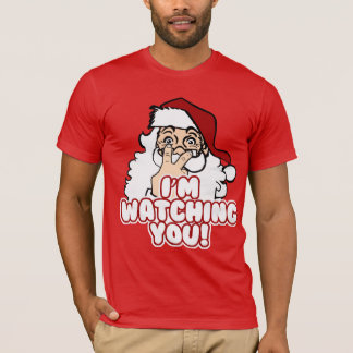 Sankt passt lustiges Weihnachten auf T-Shirt