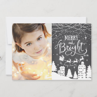 Santa Sleigh Chalkboard Christmas Card