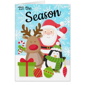 Sankt-, Ren-und Pinguin-Weihnachtskarte Karte