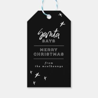 Sankt sagt frohe Weihnacht-Geschenk-Umbauten Geschenkanhänger