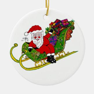 Sankt Stiefel und Hintern auf Weihnachtsverzierung Rundes Keramik Ornament