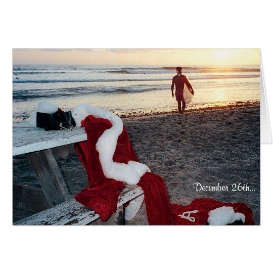 Sankt surft den Tag nach Weihnachten Grußkarte