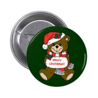 Sankt-Teddybär mit Hut und Muffe Runder Button 5,1 Cm