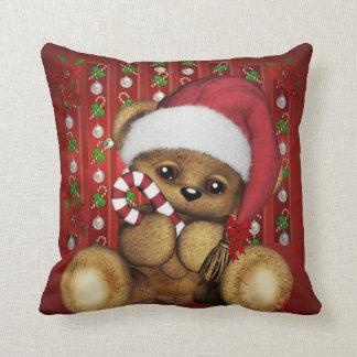 Sankt-Teddybär mit Zuckerstange Kissen