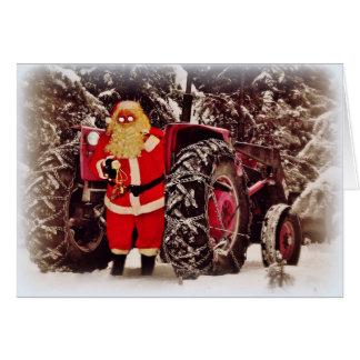 Sankt-Traktor-Pferdeschlitten-Weihnachtsgruß-Karte Grußkarte