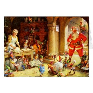 Sankt u. Frau Klaus u. die Elfe backen Plätzchen Karte