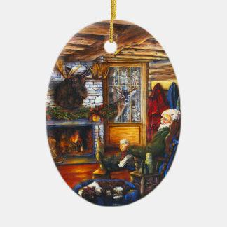 Sankt Weihnachtsfeiertags-Baum der Kabinen-| im Ovales Keramik Ornament
