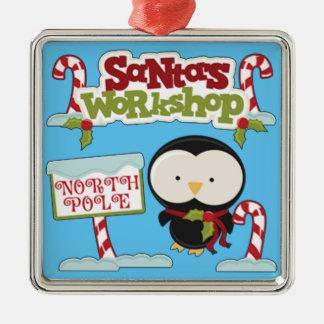Sankt Werkstatt-Pinguin Silbernes Ornament