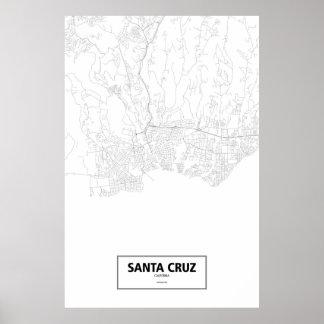 Santa Cruz, Kalifornien (Schwarzes auf Weiß) Poster