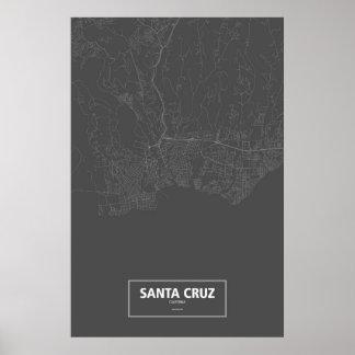 Santa Cruz, Kalifornien (weiß auf Schwarzem) Poster