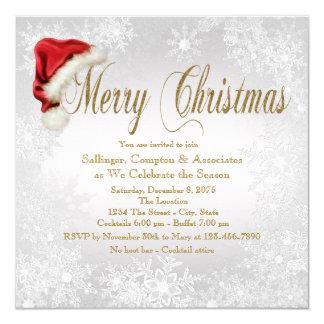 Santa Hat Snowflake Corporate Christmas Party Karte