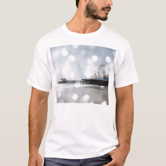 Santa Monica Pier-silbernes Grau-Glitzern-Foto T-Shirt