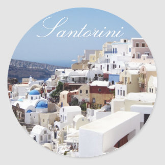 Santorini Insel Griechenland Runder Aufkleber