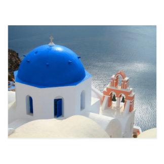 Santorini Kirche am Nachmittag Sun Postkarte