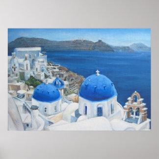 Santorini Oia blaues Kirchen-Ölgemälde Poster