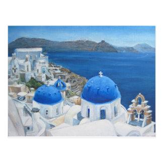 Santorini Oia Ölgemälde Postkarte