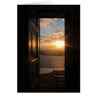 Santorini Sonnenuntergang durch Tür Karte
