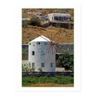 Santorini Windmühle Postkarte