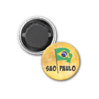 Sao-Paulo, Flagge von Brasilien Runder Magnet 3,2 Cm