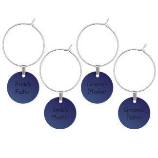 Saphir-blaue Hochzeit - Eltern Weinglas Anhänger