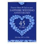 Saphir-Hochzeitstagmama- und -vatikarte Karten