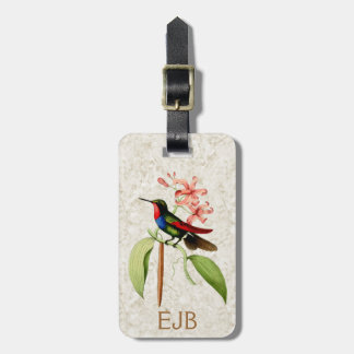Saphir-Kolibri-Vintages Kunst-Monogramm Gepäckanhänger