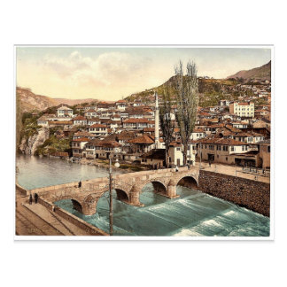 Sarajcvo (d.h., Sarajevo), blickend in Richtung Postkarte
