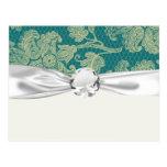 sarcelle d'hiver de dentelle de faux et motif flor carte postale