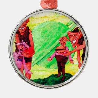 Saturn Giants Silbernes Ornament