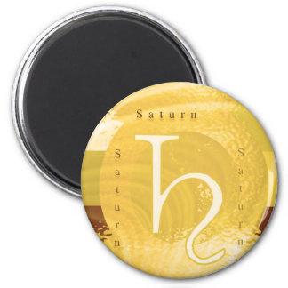 Saturn-Tierkreis-Astrologie-Entwurf Runder Magnet 5,1 Cm