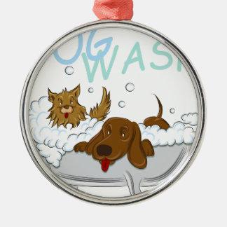 Saubere Hundewäsche Silbernes Ornament