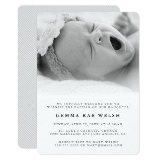 Saubere u. klassische Foto-Taufe-Einladung Karte