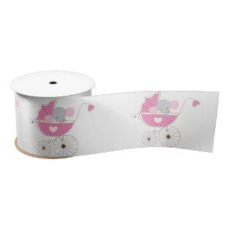 Säuglings-Baby-Mädchen-rosa Elefant Satinband